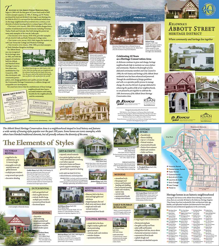 Kelowna Abbott Street Heritage District self-guided tour brochure by FRAHCAS and KSAN