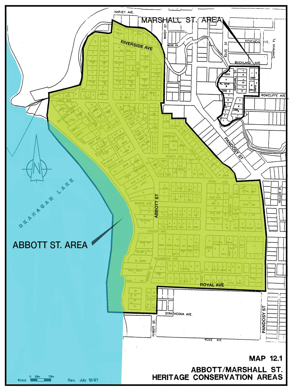 City map of the Abbott/Marshall Street Conservation Areas
