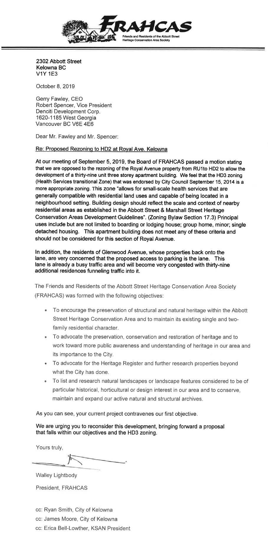 FRAHCAS letter to Royal Avenue Developer Denciti